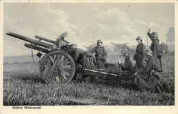Echt Foto AK Ca. Um 1935-1944 Unsere Wehrmacht Soldaten Geschütz Kanone Feldpost - Guerra 1939-45
