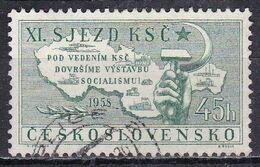 Cecoslovacchia, 1958 - 45h Map, Hammer And Sickle - Nr.860 Usato° - Czechoslovakia