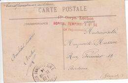 1914 Carte En Franchise Militaire Griffe 17e Corps Luchon Hôpital Temporaire N°14 Le Vaguemestre - Guerre De 1914-18
