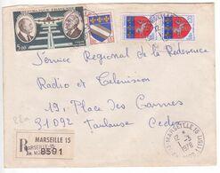 1976 Timbres Blasons Saint-Lo Troyes + Daurat Oblitération Cachet MARSEILLE 15 ANNEXE MOBILE / Lettre Recommandée  SUP - Matasellos Manuales