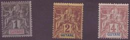 ⭐ Guyane - YT N° 30 à 32 ** - Neuf Sans Charnière - 1892 ⭐ - Ungebraucht