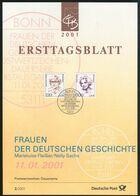 BRD - 2001 ETB 02/2001 # - Mi 2158 / 2159 - 220-300Pf/112-153C  Frauen XX, Mariel.Fleißer, Nelly Sachs   2/2001 - FDC: Panes