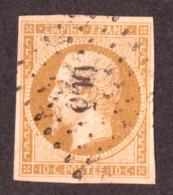 Napoléon III N°13A Bistre Jaune Clair - Oblitération PC 3005 ? (St Benoît Sur Loire, Loiret) - 1853-1860 Napoléon III.