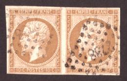 Paire Napoléon III N°13A Bistre Foncé - Oblitération PC 2738 Rouen - 1853-1860 Napoléon III.