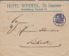"""1919 SONDERBURG ,,Hotel Rondeel"""" Bfh. (mit Abheftlochung) N. Lübeck - Machine Stamps (ATM)"""