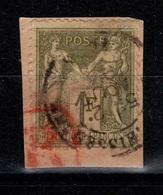 Sage Type II - Griffe Rouge Sur YV 82 Oblitere Sur Fragment Cote 8+ Euros - 1876-1898 Sage (Type II)