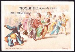 CHROMO Chocolat IBLED Paris - Mondicourt    La Vie Parsienne  Skating    Lith.  Baster & Vieillemard - Ibled