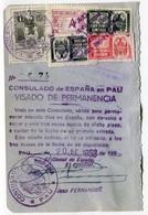 RC 18505 ESPAGNE FISCAUX SUR PAGE DE PASSEPORT OBL. CONSULAT DE PAU TB - Fiscales