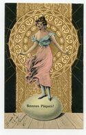 Bonnes Pâques.jolie Jeune Fille Carte En Dorure.écrite En 1913 - Pasqua