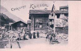 Saas-Grund VS, Rue Animée, Publicité Chocolat Tobler (181) - VS Valais