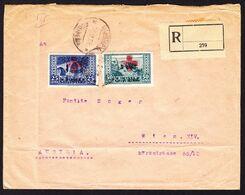 1928 Gefallteter R-Brief Aus Durazzo Nach Wien, Frankiert Mit 2 überdruckten Marken Zusätzlich Rotes Kreuz. - Albanie
