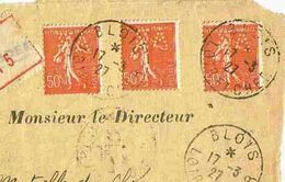 1927 BLOIS - LSC 3 Semeuse 50 Cts Perforés SA 11 Indice E - Frankrijk