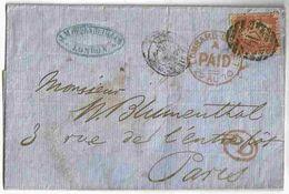 1870 Lettre London Lombard St 1penny Oblitéré 19 Pour Paris Via Amb Calais - Briefe U. Dokumente
