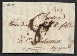 1804 2 AOUT -  LAC RHEIMS / REIMS A SAN SEBASTIAN, ESPAGNE - Storia Postale