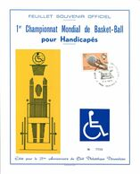 11173017 BE 19730407 Péruwelz; Baskett-ball Pour Handicapés; Fllet Souvenir 0718 Cob1666 - Feuillets