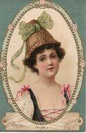 L60E012 - Portrait De Femme  Dans Un Ovale Gauffré - Carte Précurseur - Women