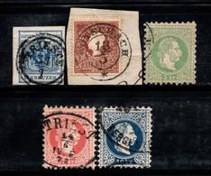 Autriche 1863 Oblitéré 100% Empereur, Armoiries, 3 Kr, 5 Kr, 10 Kr.... - Austria