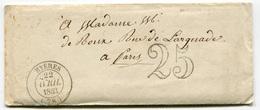 RC 18510 FRANCE 1853 VAR HYÈRES T14 TAXE 25 DOUBLE TRAIT POUR PARIS LETTRE AVEC CORRESPONDANCE - 1849-1876: Classic Period
