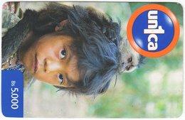VENEZUELA B-682 Prepaid Un1ca - Native People, Child - Used - Venezuela