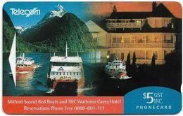 New Zealand - NZT (GPT) - Advertising Cards 1993 Hotels - THC Waitomo Cave Hotel, 1993, 5$, 9.000ex, Used - New Zealand