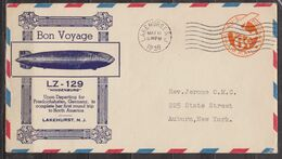 Lettre Entier Postal - Poste Aérienne - ETATS UNIS - Dirigeable LZ 129 Hindenburg - Lakehurst - 1936 - Brieven En Documenten