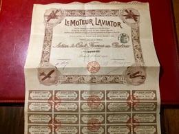 Le  MOTEUR  LAVIATOR  -------Action  De  100 Frs - Aviation