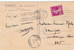 """Semeuse 20c Violet Sur CP Pour L'AEF Griffe """" Lettre Transportée Exceptionnellement PAR AVION """" CaD D'arrivée De Bangui - Storia Postale"""