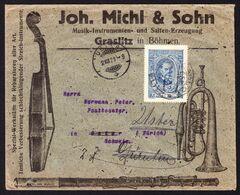 1921 Brief Einer Musikinstrumenten-Fabrik, Geige Und Usw. Aus Gralitz Nach Zürich, Uster Und Dürnten Um- - Covers & Documents