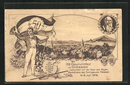 AK Giessen, 39. Gauturnfest 1912, Turner Mit Fahne, Ortsansicht, Wappen - Ansichtskarten
