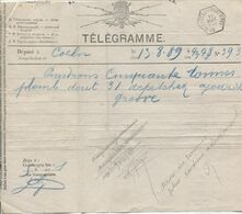 REF1828/Adm.des Postes&Télégraphes Télégramme Déposé à Coeln 13/8/89 > Bleyberg C.Hexagonal Bleyberg FRONTIERE 13/8/18.. - Postdocumenten