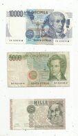 Billet , ITALIE , 10000 Lire ,5000 Lire,1000 Lire, 2 Scans , LOT DE 3 BILLETS - Other