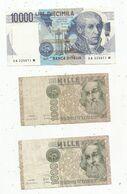 Billet , ITALIE , 10000 Lire ,,1000 Lire X 2, 2 Scans , LOT DE 3 BILLETS - [ 2] 1946-… : Repubblica