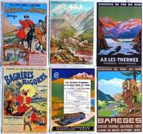 Lot De 6 CPM Publicitaires  CHEMIN De FER : Pyrénées, Barèges, Ax Les Thermes, Usat Les Bains, Bagnères - Ferrovie
