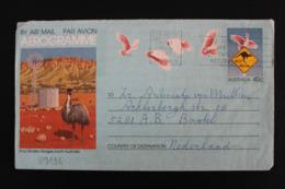 AUSTRALIE AEROGRAMME ILLUSTRE, EMEU ,OBLITERATION MECANIQUE 31/07/1986 45C POUR LES PAYS-BAS - Aerogrammi