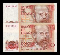 España Spain Pareja 200 Pesetas Alas Clarín 1980 Pick 156 Serie K SC UNC - [ 4] 1975-… : Juan Carlos I