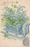 Bonne Année (Voeux) - Luge En Fleurs - Trèfle - Gauffrée - New Year