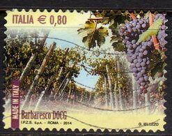 ITALIA REPUBBLICA ITALY REPUBLIC 2014 VINI DOCG WINES BARBARESCO € 0,80 USATO USED OBLITERE' - 2011-...: Afgestempeld