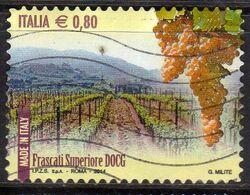ITALIA REPUBBLICA ITALY REPUBLIC 2014 VINI DOCG WINES FRASCATI SUPERIORE € 0,80 USATO USED OBLITERE' - 2011-...: Afgestempeld