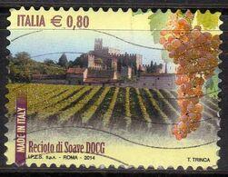 ITALIA REPUBBLICA ITALY REPUBLIC 2014 VINI DOCG WINES RECIOTO DI SOAVE € 0,80 USATO USED OBLITERE' - 2011-...: Afgestempeld