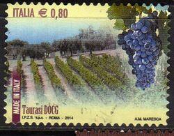 ITALIA REPUBBLICA ITALY REPUBLIC 2014 VINI DOCG WINES TAURASI € 0,80 USATO USED OBLITERE' - 2011-...: Afgestempeld