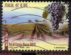 ITALIA REPUBBLICA ITALY REPUBLIC 2014 VINI DOCG WINES VAL DI CORNIA ROSSO € 0,80 USATO USED OBLITERE' - 2011-...: Afgestempeld