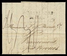 CHILE. 1827 (24 Jan). Valparaiso - Francomont / Germany. EL. Carried To Dusseldorf With Doble Stline On Front With 6 Mns - Chile