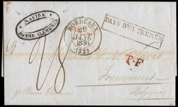 "PERU. 1835 (12 Sept). FRANCE - BELGIUM - MARITIME. Lima - Belgium. EL Full Text Oval Cachet On Front. ""NAVIRE / BONNE CL - Peru"