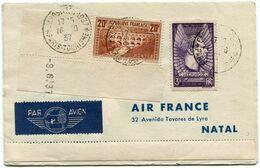 FRANCE PLI TOUR DU MONDE DEPART EXPOSITION DE 1937 16-10-37 PARIS-TOURISME POUR NATAL , NEW YORK ET HONG KONG - 1927-1959 Briefe & Dokumente