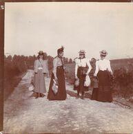 Photo Originale 1900  Château De Bouillon Baulers ? Famille Noblesse Groupe Sur Route Pavée - Orte