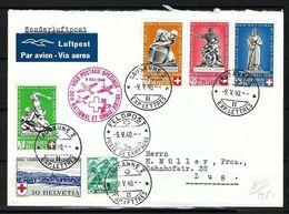 SUISSE Poste Aérienne 1940: LSC De Bâle Pour  Zug Avec Les ZNr. B3,B4,B5c,B6, 202,241, Obl. CAD Spéciales - Airmail