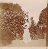 Photo Originale 1900  Château De Bouillon Baulers ? Famille Noblesse Dame Jardin Ombrelle - Orte