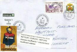 Lettre D'Andorre,adressée Allemagne Et Retour, Pendant Lockdown COVID19  Avec Local Label Prevention STAY AT HOME / - Andorra Francesa