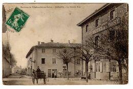 CPA Jallans Près Villefranche Sur Saöne 01 Ain Attelage Devant Hôtel De La Gare Cinquin Grande Rue éditeur Chambion - Autres Communes