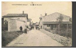CPA-26-1914-FAUCONNIERES-ENTREE DU VILLAGE-AVENUE DE MONTÉLIER-ANIMEE-NOMBREUX HABITANS SUR LA ROUTE- - France